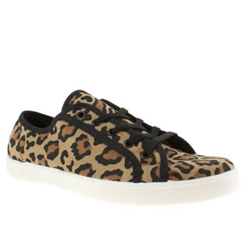womens schuh beige & brown good times leopard flat shoes
