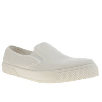Womens Schuh White Awesome Mono Slip On Flats