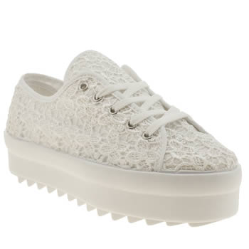 Womens Schuh White Quest Lace Flats
