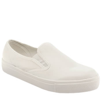 Schuh White Awesome Slip On Mono Womens Flats