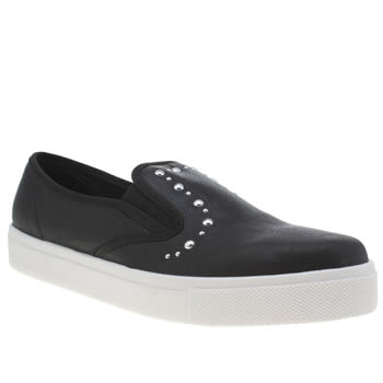 Schuh Black & Silver Awesome Slip On Ii Stud Flats