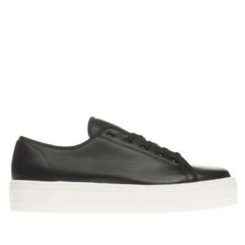 Schuh Black & White Creep Platform Womens Flats