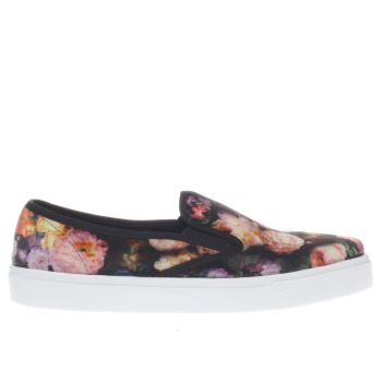Schuh Black & pink Awesome Floral Womens Flats