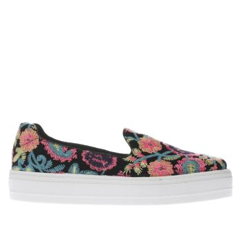 SCHUH BLACK & PINK STELLAR EMBROIDERED FLAT SHOES