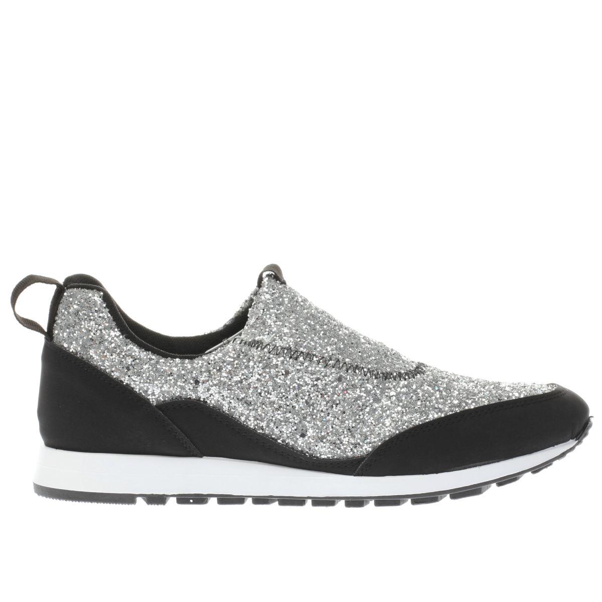 schuh silver & black aficionado flat shoes