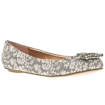 Schuh Grey Cameo Jewel Brooch Pump Floral Flats