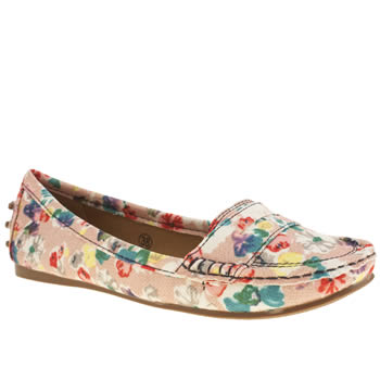 Womens Schuh Natural Cruise Driving Moccasin Floral Flats