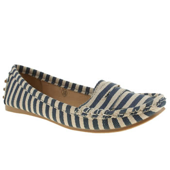 Schuh Navy & White Cruise Flats
