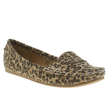 Womens Schuh Beige & Brown Cruise Driving Mocc Leopard Flats