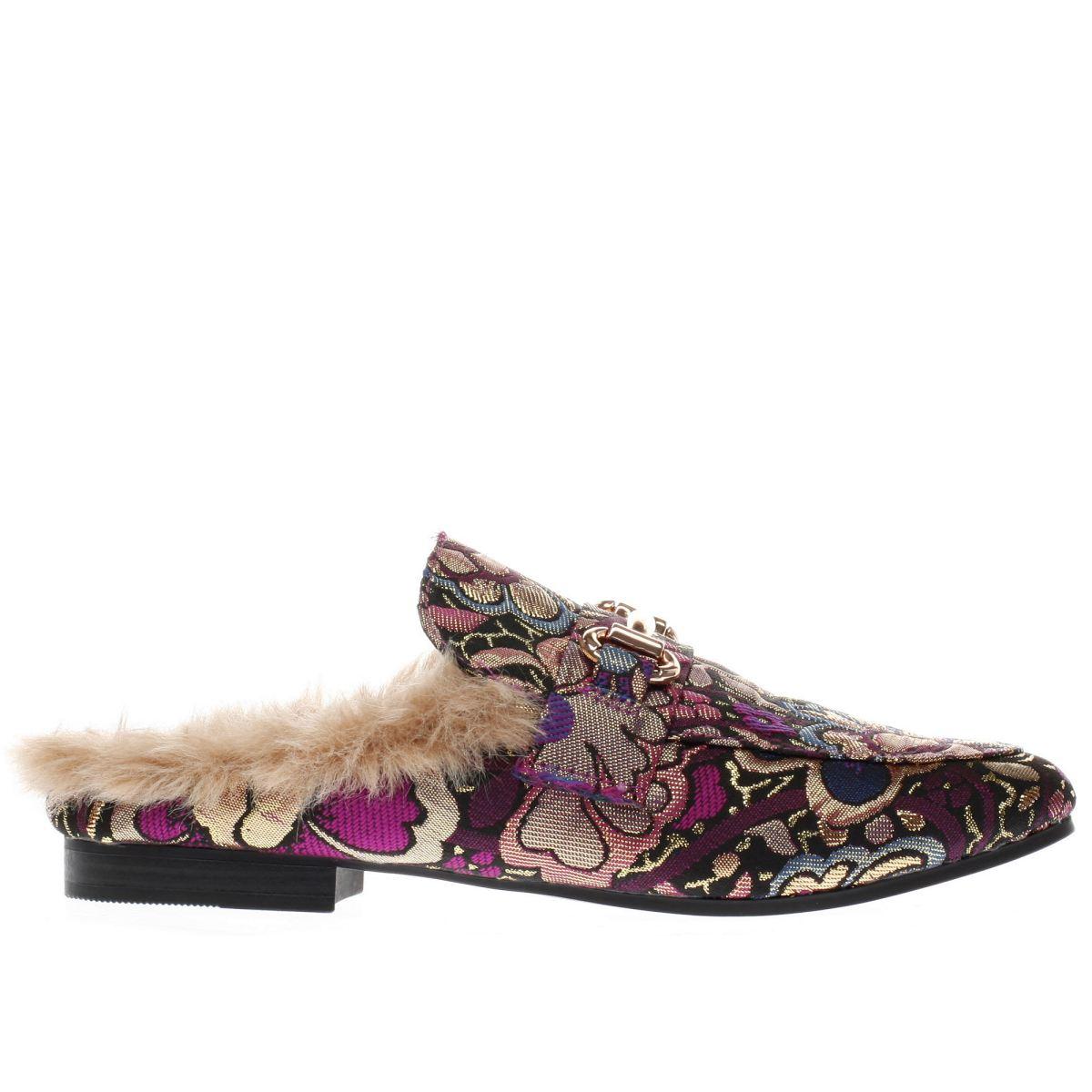 schuh purple & gold posh flower flat shoes