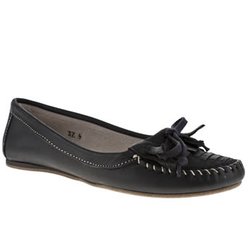 Schuh Navy Kansas Woven Fringe Moccasin Flats