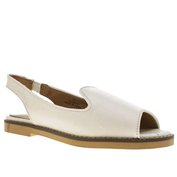womens schuh white snappy flat shoes
