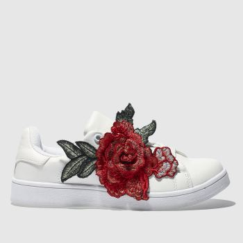 SCHUH WHITE DAMASK TRAINERS