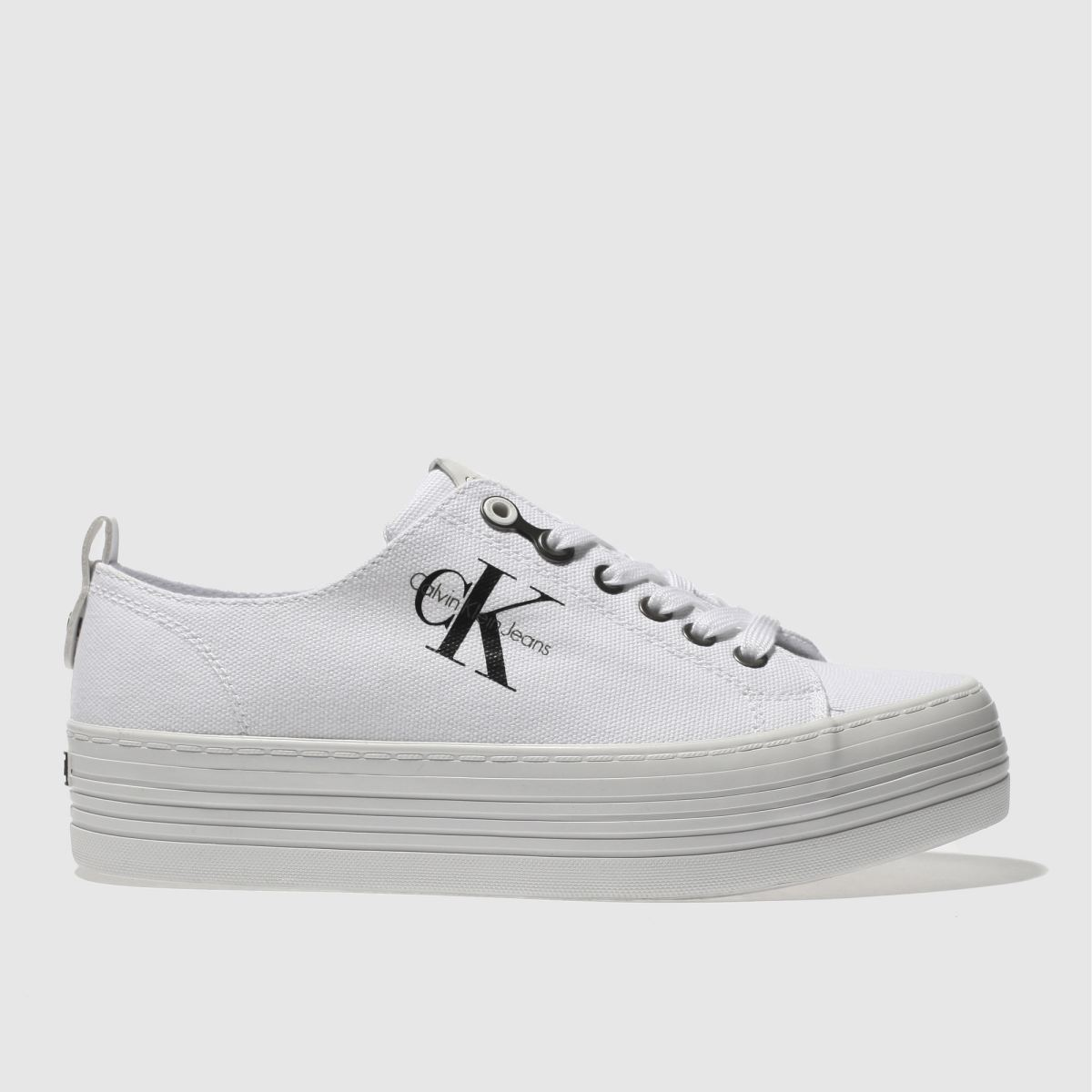 Calvin Klein White & Black Jeans Zolah Canvas Trainers