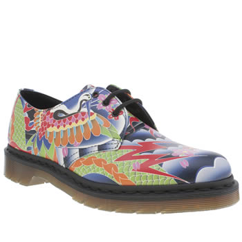 Womens Dr Martens Multi 1461 Shoe Psych Tattoo Flats