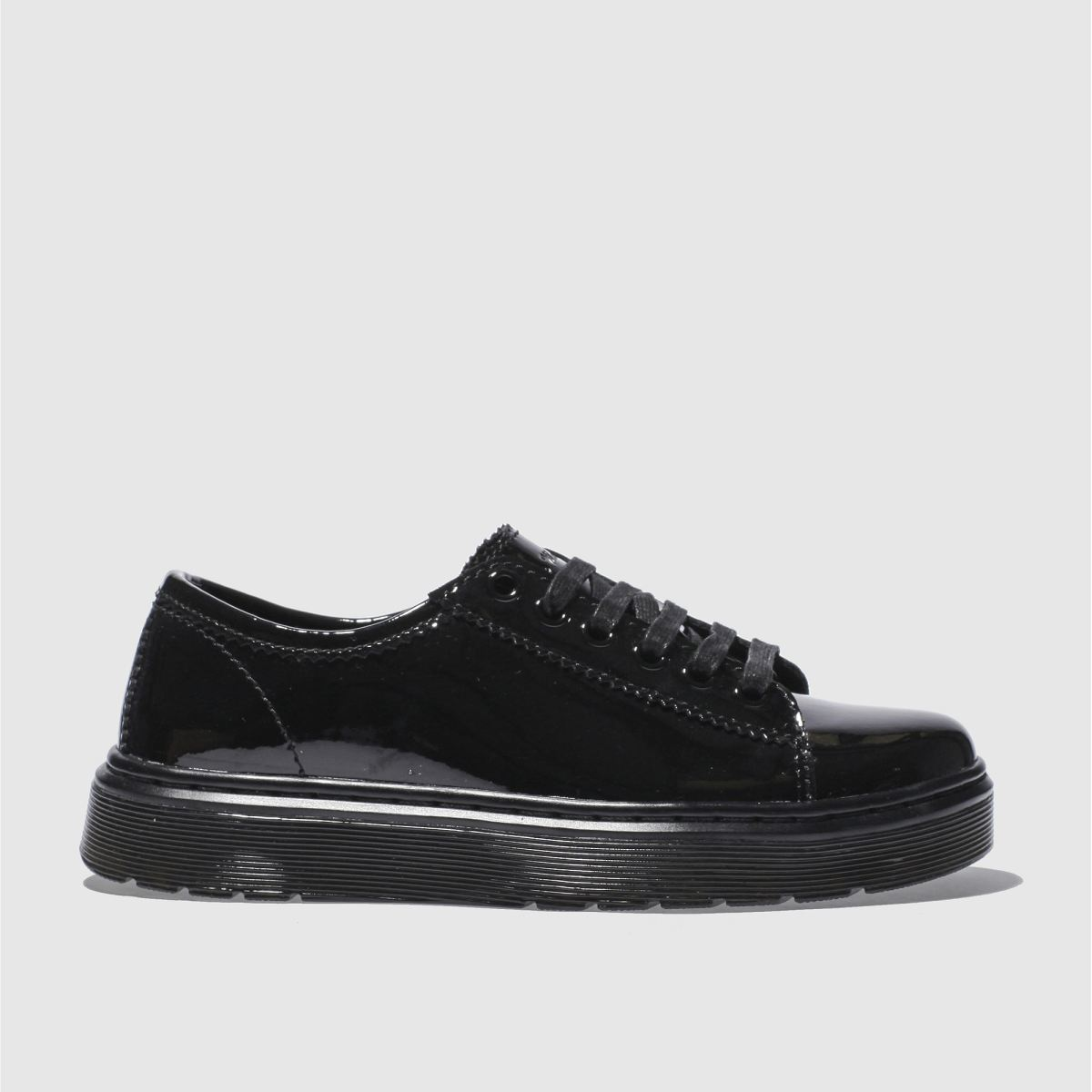 dr martens black lyric spin lace shoe patent flat shoes