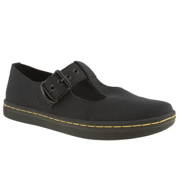 womens dr martens black eclectic woolwich t-bar flat shoes