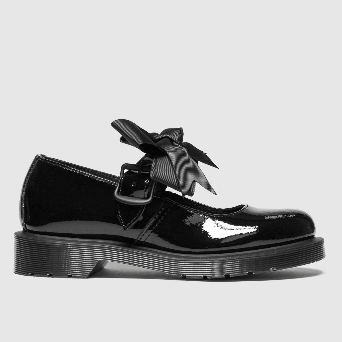 dr martens black mariel patent flat shoes