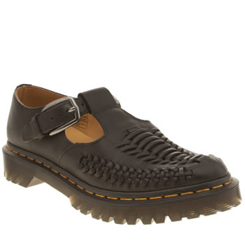 Womens Dr Martens Black Milled Lave Woven T Bar Flats