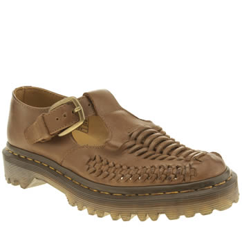 Dr Martens Tan Milled Lave Interwoven T Bar Flats