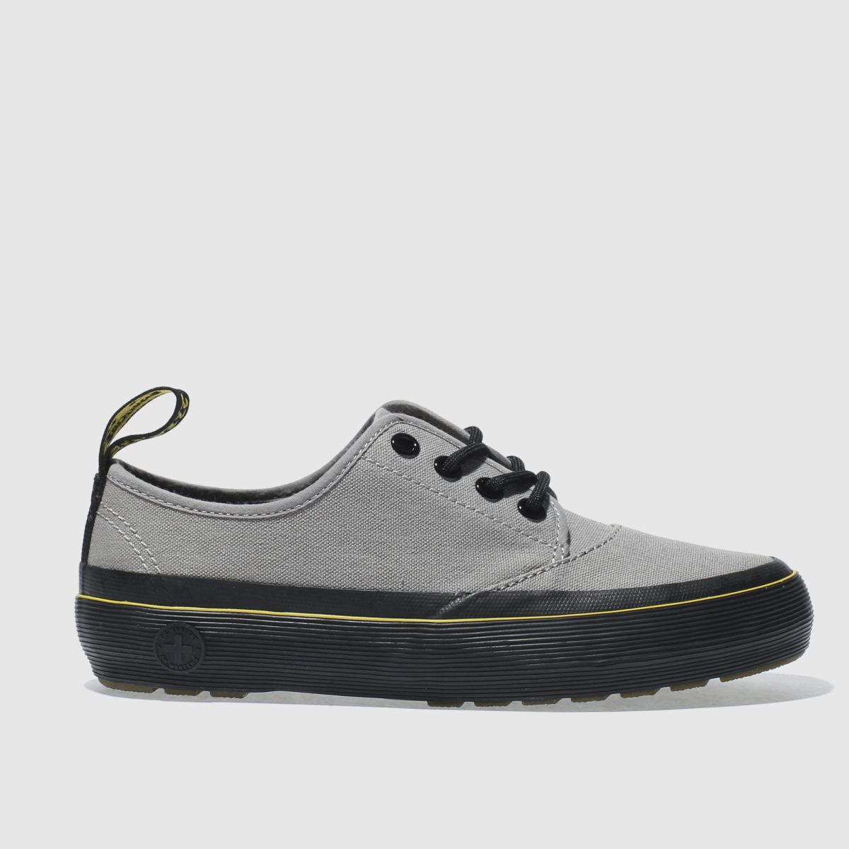 dr martens grey jacy 4 eye flat shoes