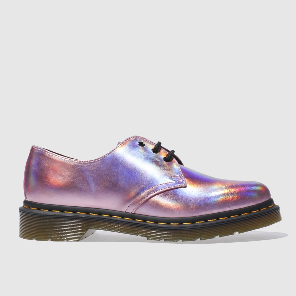 dr martens pink 1461 rs 3 eye shoe metallic flat shoes