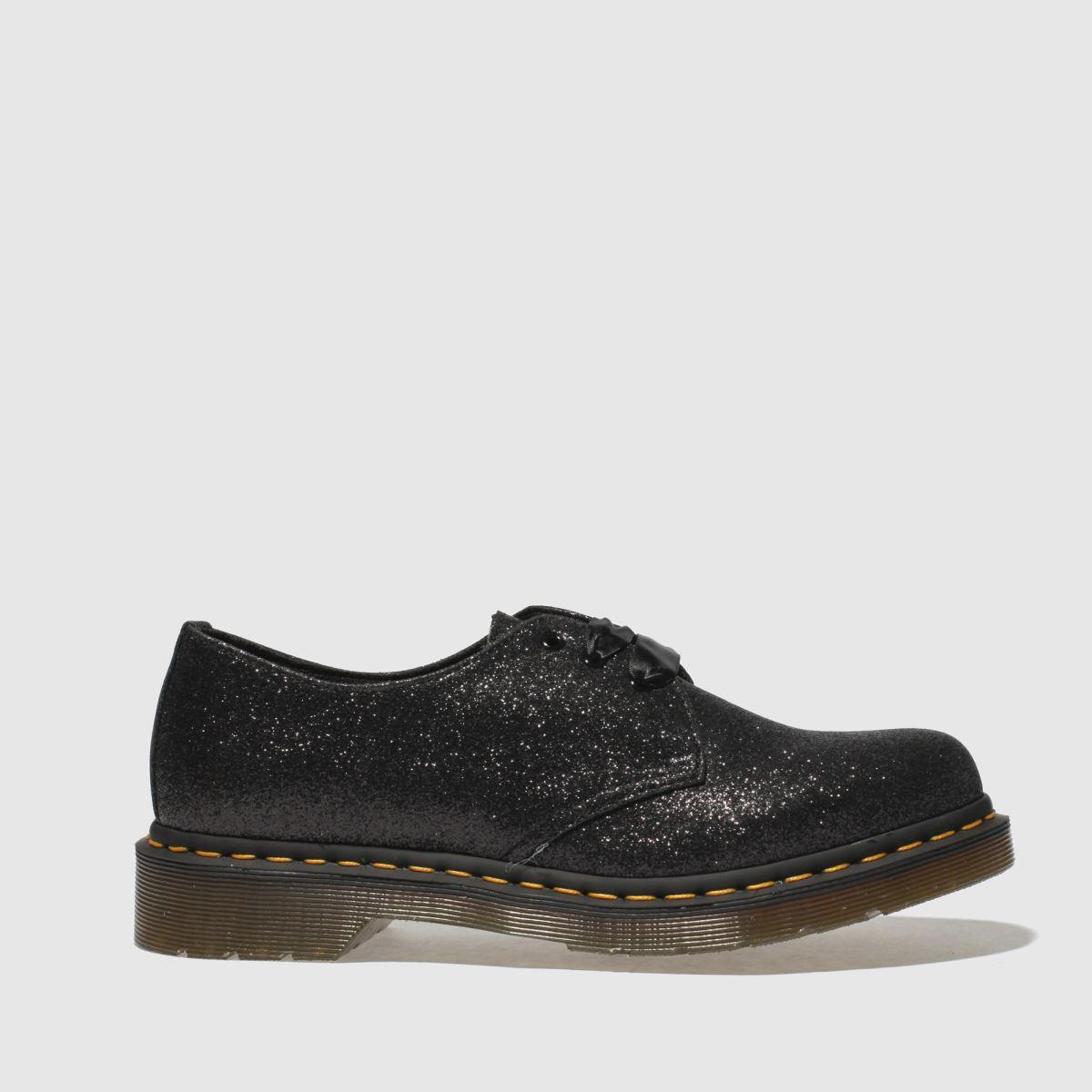 Dr Martens Black & Silver 1461 3 Eye Shoe Glitter Flat Shoes