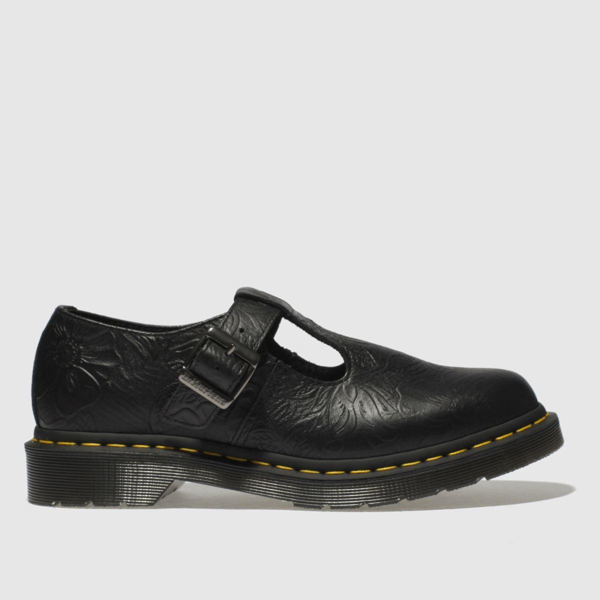 Dr Martens Black Polley Floral Emboss Flat Shoes