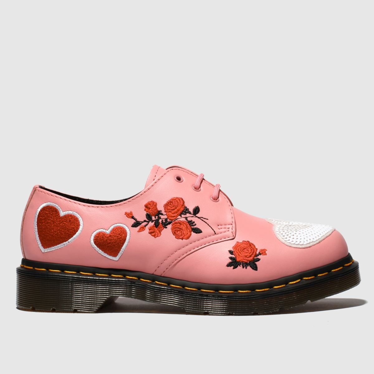 Dr Martens Pink 1461 Hearts Flat Shoes
