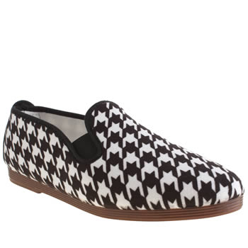 Flossy White & Black Plimsoll Houndstooth Flats