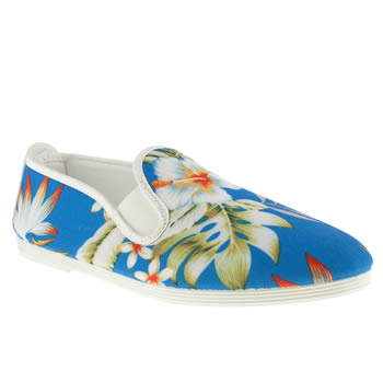 womens flossy white & blue plimsoll flower flat shoes