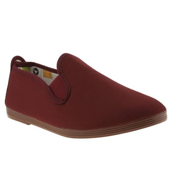 womens flossy burgundy plimsoll flat shoes