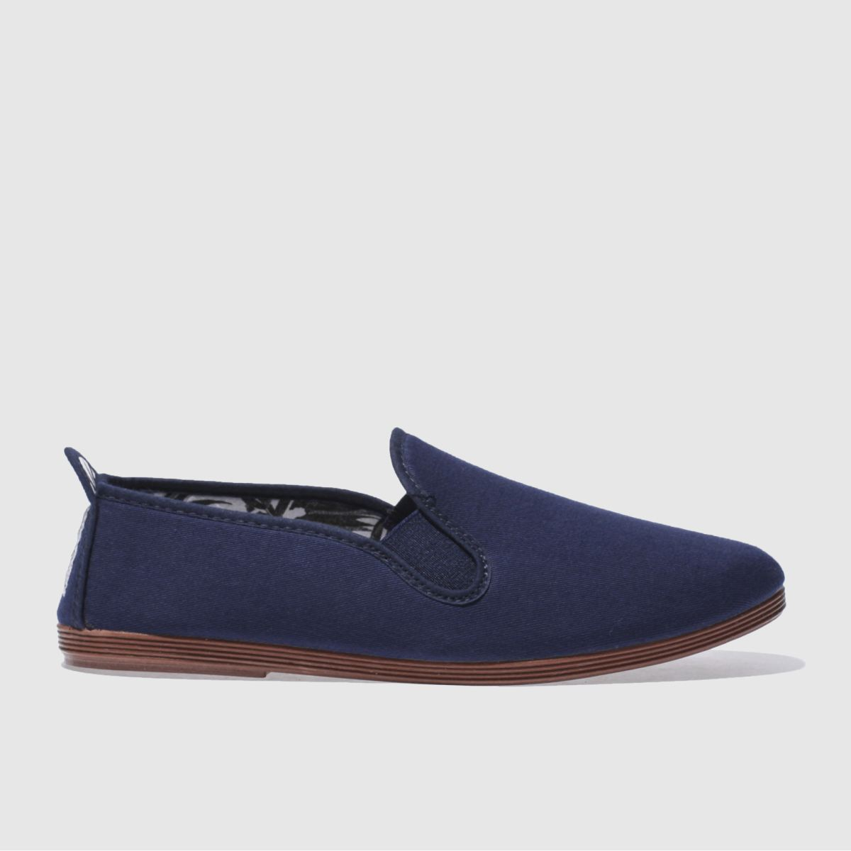 Flossy Navy Plimsoll Flat Shoes
