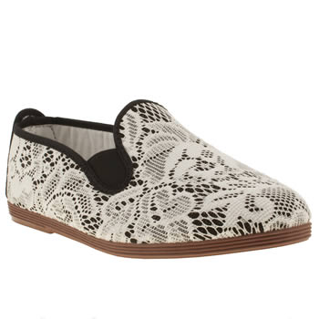 womens flossy black & white floral lace plimsoll flat shoes