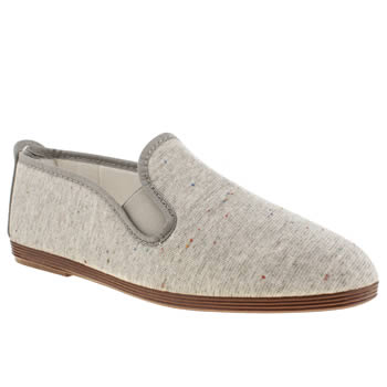 womens flossy grey plimsoll flat shoes