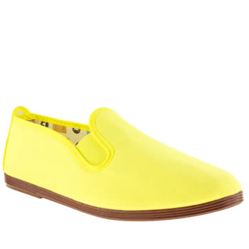 womens flossy yellow plimsoll ii flat shoes