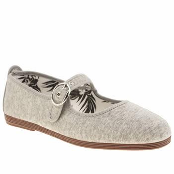 Womens Flossy Light Grey Tolosa Mary Jane Flats