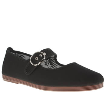 Womens Flossy Black Mary Jane Plimsoll Flats