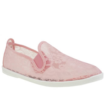 Womens Flossy Pale Pink Deia Lace Flats