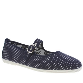 Flossy Navy & White Bailen Mary Jane Dot Womens Flats