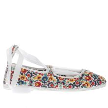 Flossy White & Blue Emma Floral Womens Flats