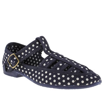 womens f troupe navy & white takako polka dot flat shoes