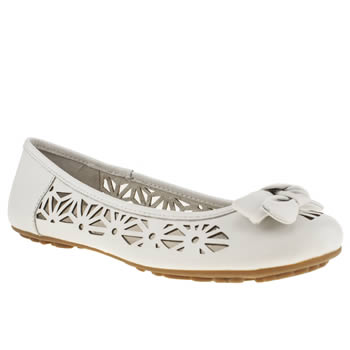Womens Hush Puppies White Lena Flats