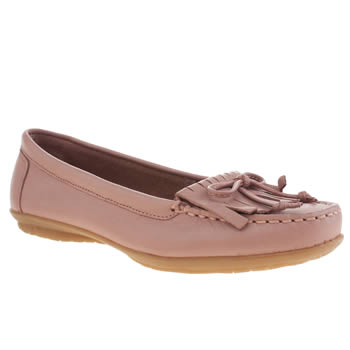 Womens Hush Puppies Pale Pink Ceil Moccasin Fringe Flats