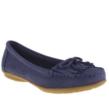 Hush Puppies Blue Ceil Mocc Fringe Womens Flats