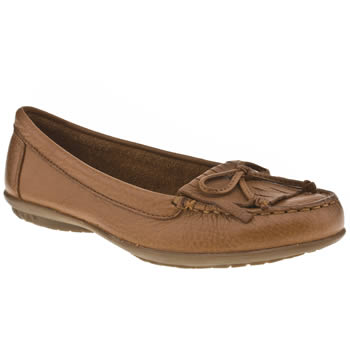 Womens Hush Puppies Tan Ceil Mocc Fringe Flats