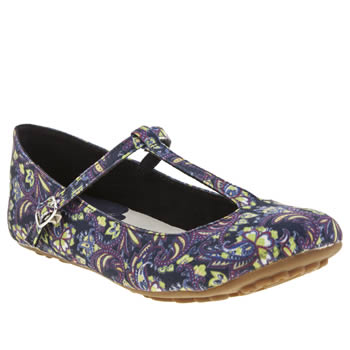 Hush Puppies Navy Janessa Tattoo T-bar Flats