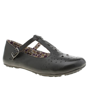 Hush Puppies Black Janessa T-bar Punch Flats