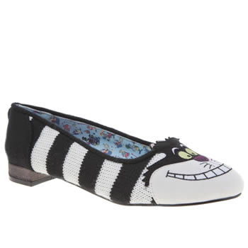 Irregular Choice Black & White Alice Cheshire Flats