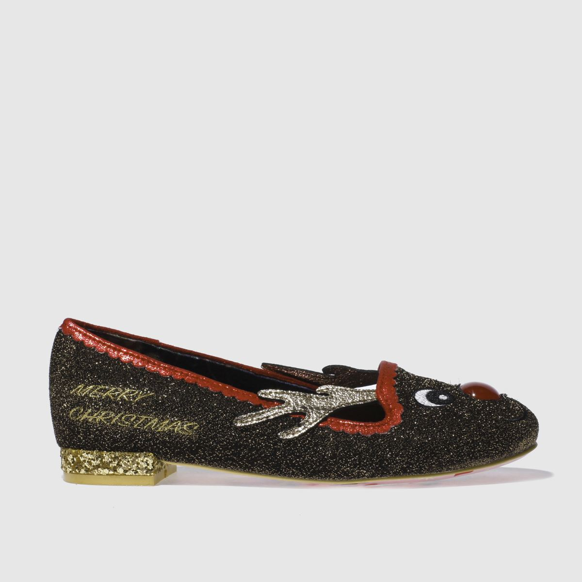 irregular choice brown & red red nose roo flat shoes